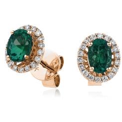 HEOGEM251 Emerald Gemstone Single Halo Earrings - rose