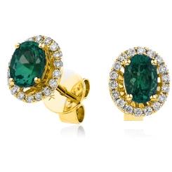 HEOGEM251 Emerald Gemstone Single Halo Earrings - yellow