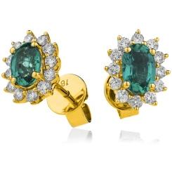 HEOGEM256 Oval cut Emerald Gemstone Halo Earrings - yellow
