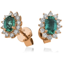 HEOGEM256 Oval cut Emerald Gemstone Halo Earrings - rose