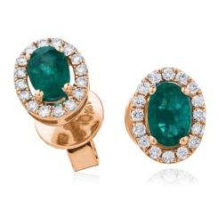 HEOGEM274 Oval cut Emerald Gemstone Halo Earrings - rose