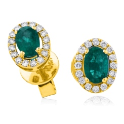 HEOGEM274 Oval cut Emerald Gemstone Halo Earrings - yellow