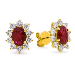 HEOGRY246 Ruby Gemstone Halo Earrings - yellow