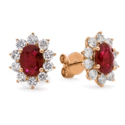 HEOGRY246 Ruby Gemstone Halo Earrings - rose
