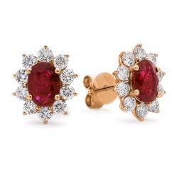 HEOGRY246 Ruby Gemstone Halo Earrings - rose
