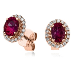 HEOGRY252 Ruby Gemstone Single Halo Earrings - rose