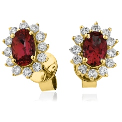 HEOGRY257 Oval cut Ruby Gemstone Halo Earrings - yellow
