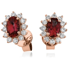 HEOGRY257 Oval cut Ruby Gemstone Halo Earrings - rose