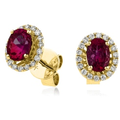 HEOGRY273 Oval cut Ruby Claw Halo Earrings - yellow