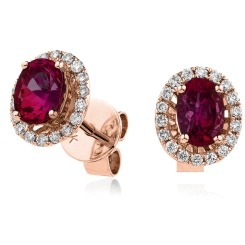 HEOGRY273 Oval cut Ruby Claw Halo Earrings - rose