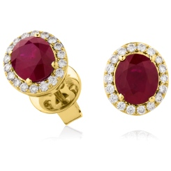 HEOGRY275 Oval cut Ruby Stone & Diamond Halo Earrings - yellow
