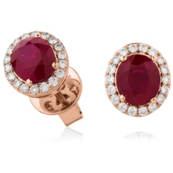 HEOGRY275 Oval cut Ruby Stone & Diamond Halo Earrings - rose