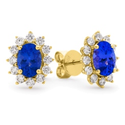 HEOGTZ258 Oval cut Tanzanite Gemstone Halo Earrings - yellow