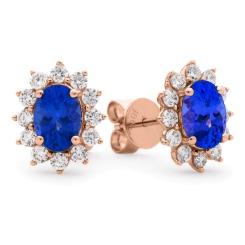 HEOGTZ258 Oval cut Tanzanite Gemstone Halo Earrings - rose