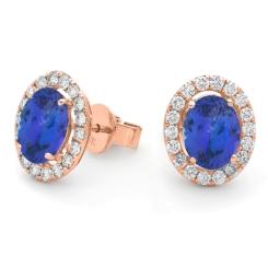 HEOGTZ293 Oval cut Tanzanite Halo Earrings - rose