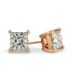 HEP30 Princess Stud Diamond Earrings - rose