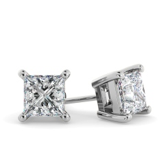 HEP30 Princess Stud Diamond Earrings - white