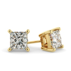 HEP30 Princess Stud Diamond Earrings - yellow