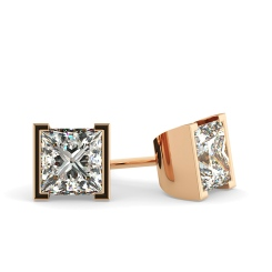 HEP31 Princess Stud Diamond Earrings - rose