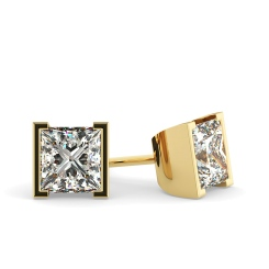 HEP31 Princess Stud Diamond Earrings - yellow