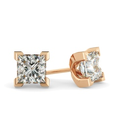 HEP32 Princess Diamond Stud Earrings - rose
