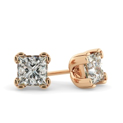 HEP48 Princess Stud Diamond Earrings - rose