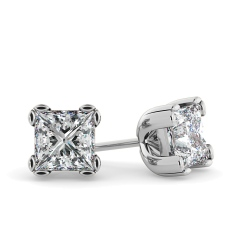 HEP48 Princess Stud Diamond Earrings - white