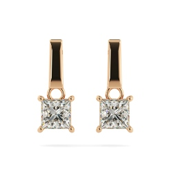 HEP52 Princess Stud Diamond Earrings - rose