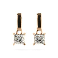 HEP52 Princess Stud Diamond Earrings - rose