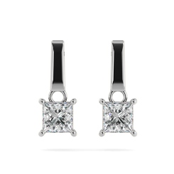 HEP52 Princess Stud Diamond Earrings - white