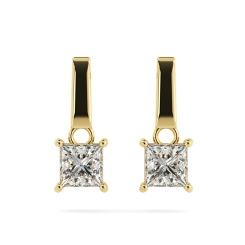 HEP52 Princess Stud Diamond Earrings - yellow