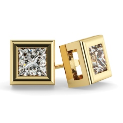 HEP59 Princess Stud Diamond Earrings - yellow