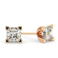 HEP91 Princess Stud Diamond Earrings - rose