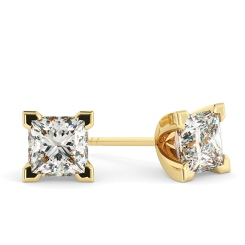 HEP91 Princess Stud Diamond Earrings - yellow