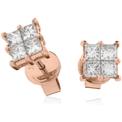 HEPCL129 Four Claw Cluster Diamond Earrings - rose