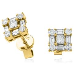 HEPCL138 Designer Princess Cluster Diamond Earrings - yellow