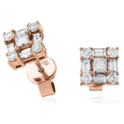HEPCL138 Designer Princess Cluster Diamond Earrings - rose