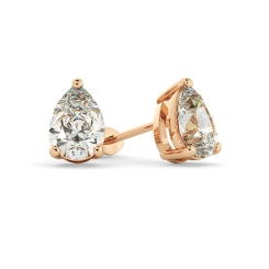 HEPE51 Pear Stud Diamond Earrings - rose
