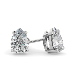 HEPE51 Pear Stud Diamond Earrings - white