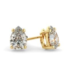 HEPE51 Pear Stud Diamond Earrings - yellow