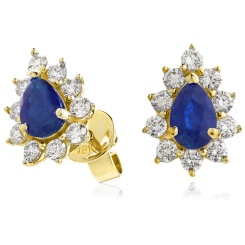 HEPEGBS247 Blue Sapphire Pear Shaped Halo Earrings - yellow