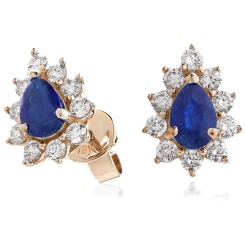 HEPEGBS247 Blue Sapphire Pear Shaped Halo Earrings - rose
