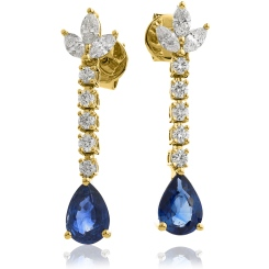 HEPEGBS259 Pear cut Blue Sapphire Drop Earrings - yellow