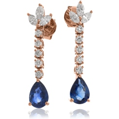 HEPEGBS259 Pear cut Blue Sapphire Drop Earrings - rose