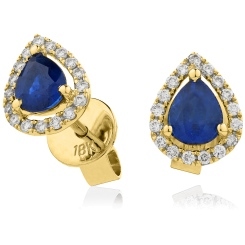 HEPEGBS283 Pear cut Blue Sapphire & Diamond Stud Halo Earrings - yellow