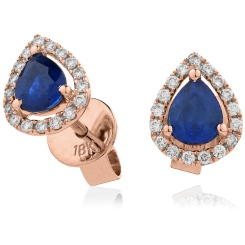 HEPEGBS283 Pear cut Blue Sapphire & Diamond Stud Halo Earrings - rose