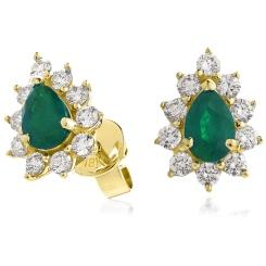 HEPEGEM248 Emerald Gemstone Pear Shaped Halo Earrings - yellow