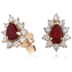 HEPEGRY249 Pear Designer Diamond Earrings - rose