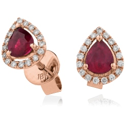 HEPEGRY284 Pear cut Ruby & Diamond Stud Halo Earrings - rose