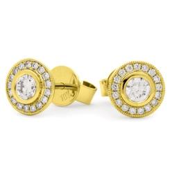 HER143 Designer Edge Halo Diamond Earrings - yellow